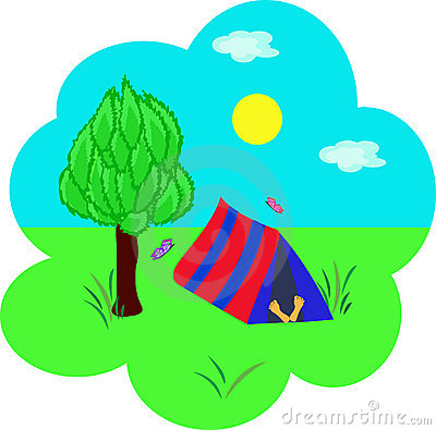 Tourism, tent under a tree