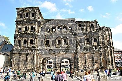 Tourism at Trier - Porta Nigra Editorial Stock Photo