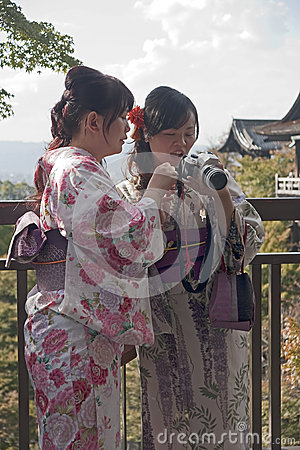 Tourism visitors to the Kiyomizu Temple in Kyoto Editorial Photography