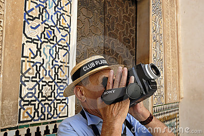 Tourist in the Alhambra,Granada Spain Editorial Stock Image