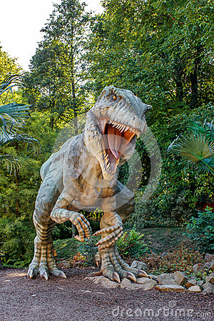 Vyskov, Czech Republic - 19.8. 2012 -  tourist attraction - realistic model of big tyranosaurus rex in jungle Editorial Stock Photo