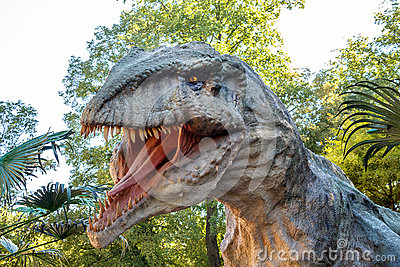 Vyskov, Czech Republic - 19.8. 2012 -  tourist attraction - realistic model of big tyranosaurus rex in jungle Editorial Image