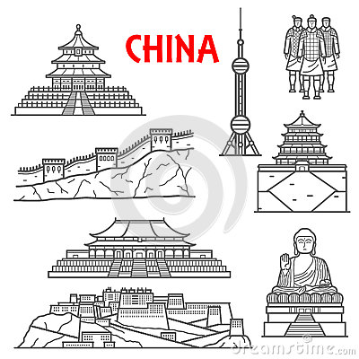 Free Tourist Attractions Of China Icon, Thin Line Style Royalty Free Stock Photo - 73831995