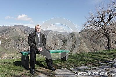 Tourist on bench