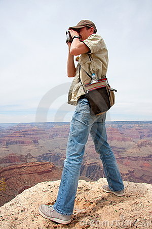 Tourist with binoculars