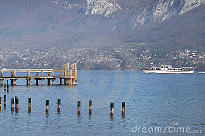 Tourist boat on Annecy lake