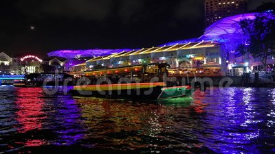 Tourist boat at Clarke Quay stock footage