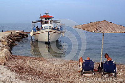 Tourist boat in Corfu, Greece Editorial Photography
