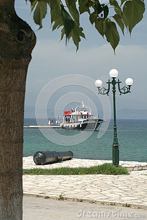 Tourist boat in Corfu, Greece Editorial Stock Photo