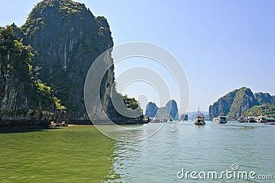 Tourist boat at Halong bay