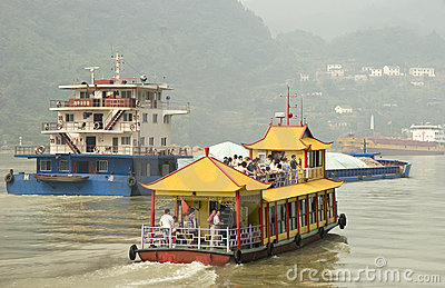 Tourist  boat in Yangtze river Editorial Stock Image