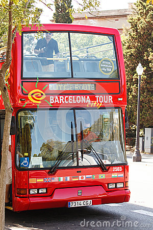 Tourist bus in Barcelona Editorial Photography