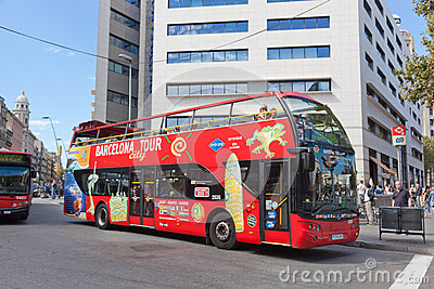 Tourist bus in Barcelona, Spain Editorial Photo
