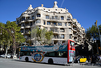 Tourist bus in Barcelona, Spain Editorial Image