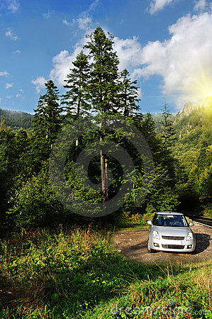 Tourist car parked in nature