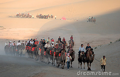 Tourist caravan at mingsha sand dunes Editorial Photography