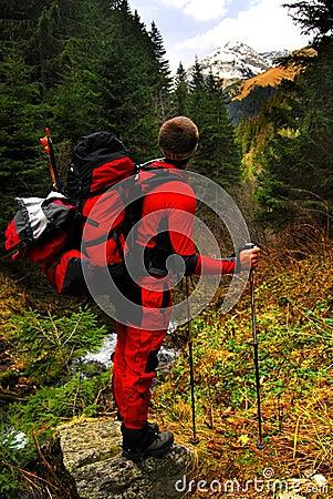 Tourist in carpathians mountains