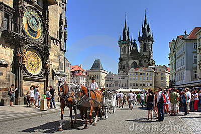 Tourist carriage in Prague, Czech Republic. Editorial Photography