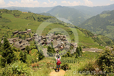 Tourist in China, Rice Paddy Terraces, Pinjan Editorial Photography
