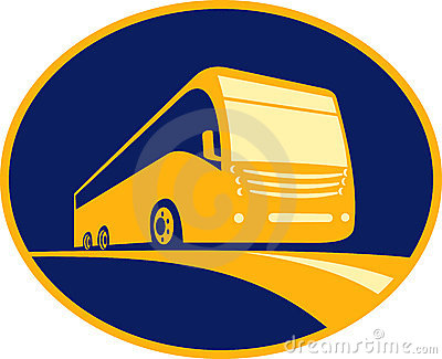 Tourist coach bus traveling