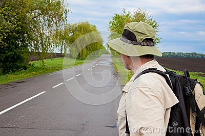 Tourist on a country road