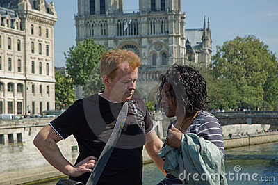 Tourist couple having a chat Editorial Stock Photo