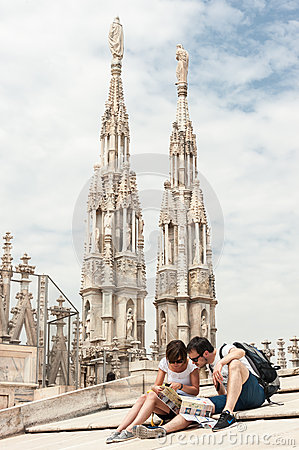 Tourist couple in Milan Editorial Image