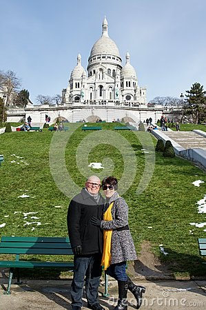 Tourist/Couple in Montmartre Editorial Photo