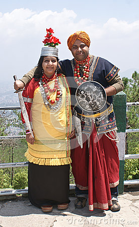 A tourist couple in traditional Khasi attire Editorial Photo