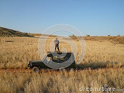 Tourist in Damaraland in Namibia