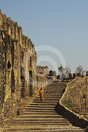 Tourist descending stairs, Golconda, Hyderabad Editorial Photography