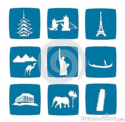 Tourist destinations icons set