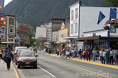 Tourist District in Downtown Juneau Alaska Editorial Stock Photo