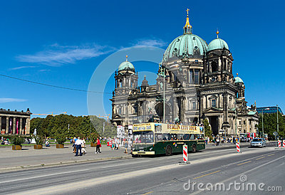 Tourist double decker bus on background Berliner Dom Editorial Photography