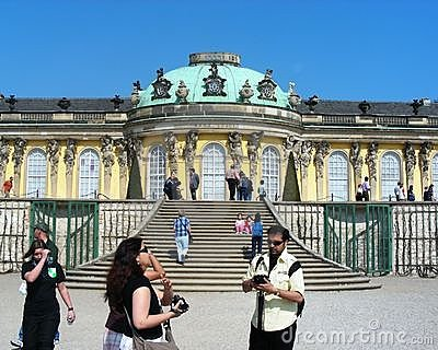 Tourist enjoying at Sanssouci palace in Potsdam Editorial Stock Photo