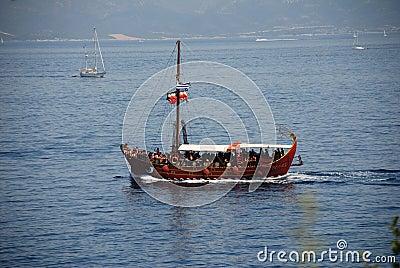 Tourist excursion boat, Meganissi Editorial Photo