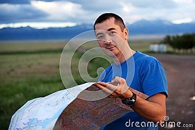 Tourist exploring the map