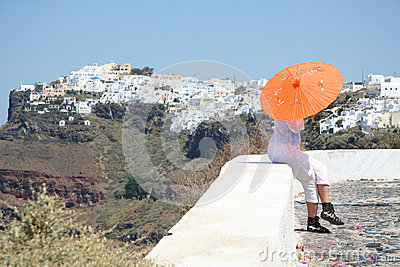 Tourist in Firostefani, Santorini Editorial Photography