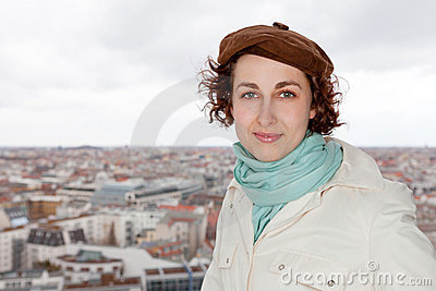 Tourist in front of Berlin city panorama