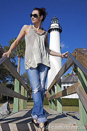 Tourist in front of Saint Simons Lighthouse