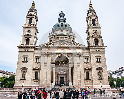 Tourist front of St. Stephen s Basilica Editorial Photo
