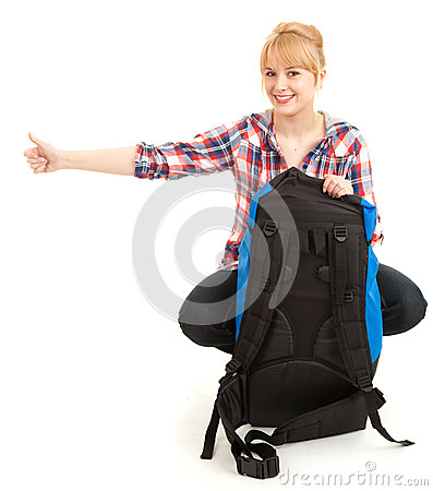 Tourist girl with backpack, stopping car