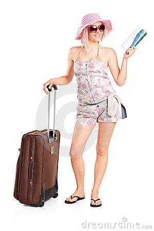 Free Tourist Girl Holding A Ticket And Suitcase Royalty Free Stock Photos - 19517608