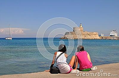 Tourist girls on rhodes