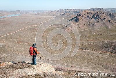Tourist on hill