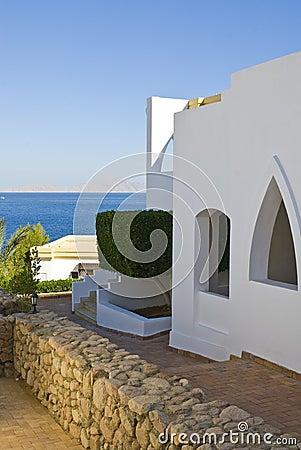 Tourist hotel by ocean