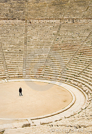 Free Tourist In Ancient Theater In Epidaurus, Greece Stock Photo - 12545640