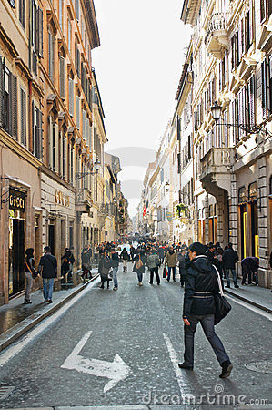 Tourist and inhabitants walking in Rome Editorial Image
