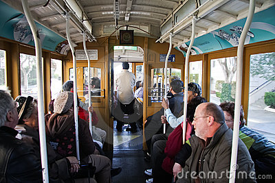 Tourist inside Cable Car Editorial Photography