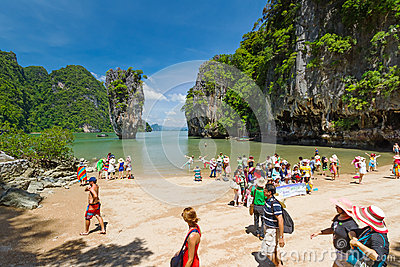 Tourist on James Bond Island Editorial Stock Image
